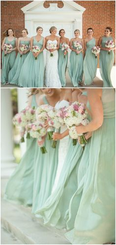 Southern bridal party, pastel green bridesmaid dresses, chiffon gowns, pink and white floral wedding bouquets, repin to your own inspiration board // Clint James Photography