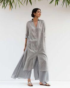 Good Opening Kurta - Grey Stylish Dress Designs, Dress Neck Designs, Blouse Designs, Designer Suits Online, Indian Designer Suits, Indian Attire, Indian Outfits, Kurta Designs Women, Kurti Designs Party Wear