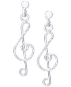 Giani Bernini Treble Clef Drop Earrings in Sterling Silver, Created for Macy's - Silver