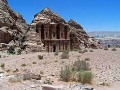 Petra, Jordan - This site was featured in Raiders of the Lost ark. It is an architectural site cut out of rock. Places Around The World, Around The Worlds, Jordan Photos, Fourth World, Ancient Ruins, Ancient Art, Lost City, Archaeological Site