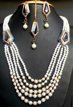 Royal Fashion Design Jaipuri Indian Jewelry Bridal Gown Pearls Necklace Earrings | eBay