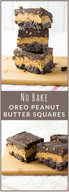 These squares have three thick layers: Oreo bottom crust, thick and creamy peanut butter middle layer, and a rich chocolate frosting top layer. The peanut butter is the star of this show, for sure; th(No Bake Chocolate Bars)