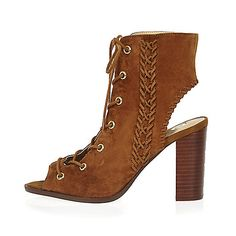 Tan suede lace-up heeled shoe boots - heeled sandals - shoes / boots - River Island