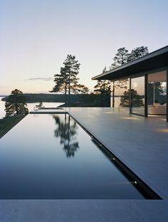 minimalist pool with infinity edge