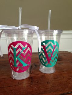 Turquoise and Hot Pink Chevron Acrylic Double wall Insulated Cup Tumbler w Straw Monogrammed on Etsy, $6.00