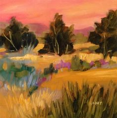 """Daily Paintworks - """"Dawn Sentinels"""" - Original Fine Art for Sale - © Libby Anderson"""