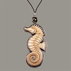 Carved Bone Seahorse Necklace, Tabra