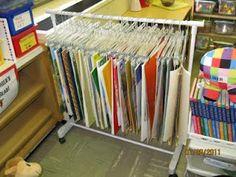 Big book storage. Clothing rack and hangers