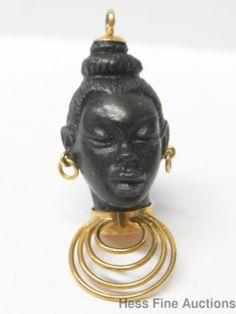 Finely Carved Ebony Wood 18K Gold Blackamoor Vintage African Queen Pendant Charm | eBay..