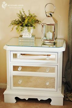 Such a pretty way to dress up 1980s bedside tables.  B already has one, now just gotta find one for my side of the bed!