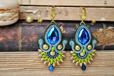 Handmade Peacock Soutache Earrings - Small