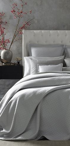 For a look that complements both casual and formal bed styles, Matouk has given the Nadia coverlet a subtle iridescence.  The cotton matelassé weave creates a lovely contrast-stitch effect of 1-inch diamonds, and its colors coordinate with their best-selling Nocturne and Lowell collections. #luxurybedding #designerbedding #bedding #luxurylinens #linens