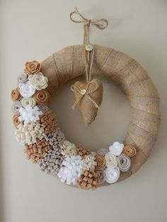 Burlap wreath - Felt Flowers Wreath - Neutral Wreath - Wedding Wreath