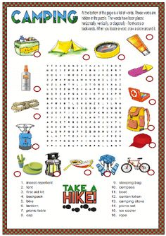 Colorful Summer Activities For Kids - - kids word search, kids printables, kids games, kids activities - Word Games For Kids, Camping Games Kids, Summer Activities For Kids, Puzzles For Kids, Camping Menu, Camping Foods, Kids Math, Backpacking Meals, Kayak Camping