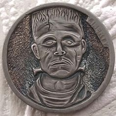 Finn La Rue - Frankenstein - First Hobo Nickel The Frankenstein, Hobo Nickel, Coin Art, Black Lagoon, Effigy, Hand Engraving, Silver Coins, Indian Art, Art Forms
