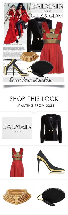"""""""Going out: Sweet Mini Handbag"""" by elena-viola-1 ❤ liked on Polyvore featuring Balmain and Chanel"""