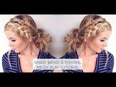Mixed Fishtail and Dutch Braid Messy Bun - YouTube