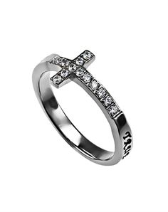Stunning high polish stainless steel cross shaped band set with 13 CZ stones. Black enamel filled engraving wraps entire band from one end of the cross to the other reading True Love Waits -1 Timothy 4:12 ""