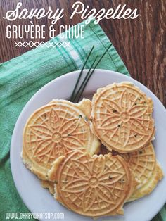 Try these amazing savory pizzelles. Change up the cheese & herb combo to any that you like. Parmesan & rosemary! Havarti & dill! Gruyère & chive!