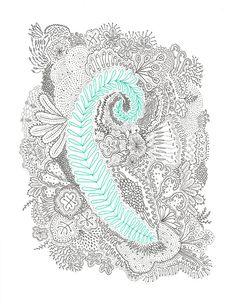 Framed Original Ink Drawing on Paper Whimsical by ScottIdlemanArt