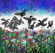 "Saatchi Art Artist Nada  Sucur Jovanovic; Drawing, ""Birds on the lake"" #art"
