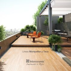 Exteriores on pinterest roof terraces rooftops and oakwood for Pisos para patios exteriores