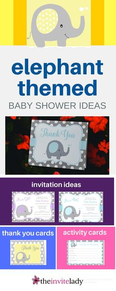 Perfect for an Elephant Themed Baby Shower. These elephant invitation ideas include Polka Dots, a cute baby Elephant, gray, blue,  hearts. - - from theinvitelady.com #BabyShower #Invitation #babyelephant