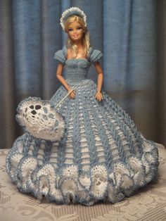 Hand crochet blue and white dress for Barbie Doll ... front view