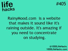 """RainyMood.com is a website that make it sound like it's raining outside.""…"