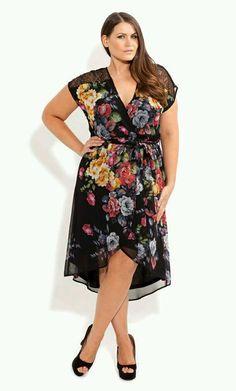 City Chic - Lace Shoulder Floral Dress - Women's plus size fashion Vestidos Plus Size, Plus Size Dresses, Plus Size Outfits, Xl Mode, Mode Plus, Curvy Girl Fashion, Plus Size Fashion, Womens Fashion, Steampunk Fashion