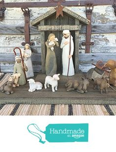 NATIVITY STABLE Distressed Wood Rustic Wooden Manger fits Willow Tree Angels Green Red from Wooden Hearts https://smile.amazon.com/dp/B01C7UFZGY/ref=hnd_sw_r_pi_dp_WsxIxb1ABZM1D #handmadeatamazon