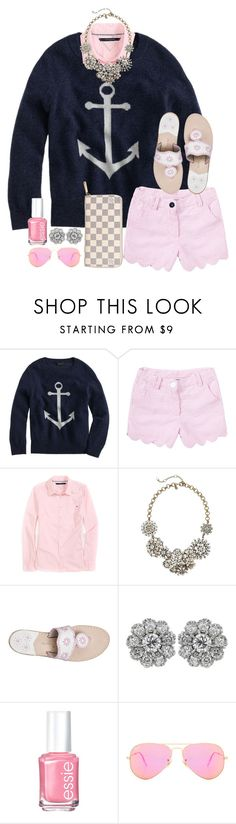 """""""a POP of pink is always a good choice"""" by thefashionbyem ❤ liked on Polyvore featuring J.Crew, Tommy Hilfiger, Jack Rogers, Essie, Ray-Ban and Louis Vuitton"""