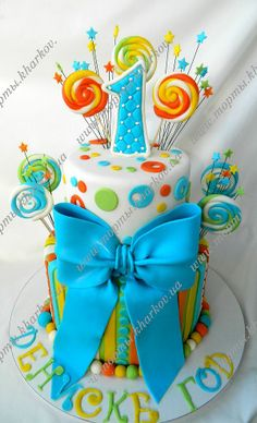 Детский торт на 1 годик для мальчика