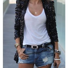 Surprisingly Women's Denim Dressing Street Style Ideas Short Outfits, Stylish Outfits, Spring Outfits, Cool Outfits, Outfit Summer, Cardigan Noir, Sequin Cardigan, Sequin Blazer, Black Sequin Jacket