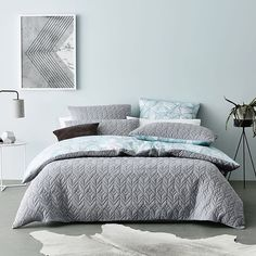 From Rebecca Judd's second exclusive collection for Home Republic, this is the Cumulus reversible quilt cover. When you run your hand along the soft cotton jersey surface, you won't believe how incredibly soft it is  #interiordesign #adairs #homerepublic #RJLxHR