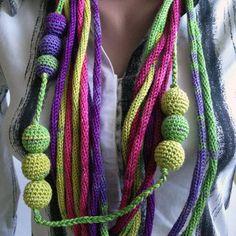 "Crochet Lariat Necklace/ Crochet Necklace ""Rainbow""/ Eco Jewelry/ Eco-Friendly/ Necklace Yarn/ Boho Style Necklace/ Necklace Scarf"