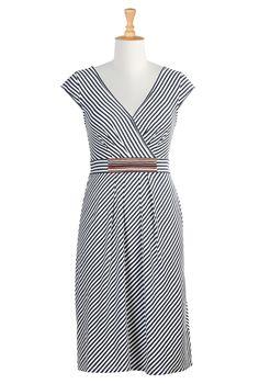 Stripe Cotton Knit Dresses, Banded Stripe Waist Dresses Shop Women's Designer Dresses, Silk Dresses, Black Dresses, Women's Special Occasion Dresses | eShakti