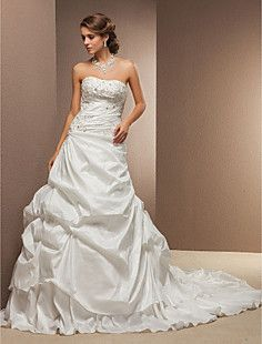 Ball Gown Strapless Cathedral Train Taffeta Wedding Dress – USD $ 199.49