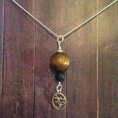 Wood Om Lava Aromatherapy Necklace by EOFLW on Etsy
