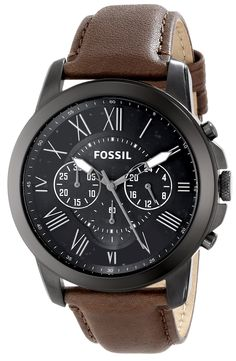 Amazon.com: Fossil Men's FS4885 Grant Stainless Steel Watch with Brown Leather Band: Fossil: Watches