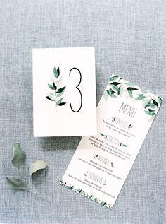 Watercolor foliage-inspired invitations: http://www.stylemepretty.com/2016/04/13/a-portugal-wedding-straight-from-a-fairytale/ | Photography: Brancoprata - http://brancoprata.com/