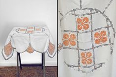 Cut From the Same (Embroidered) Cloth.  Orange EMBROIDERED Tablecloth Scalloped Edge Needlepoint Black by JeezumCrowVintage on Etsy