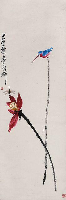 齐白石 荷花蜻蜓翠鸟 by China Online Museum - Chinese Art Galleries, via Flickr