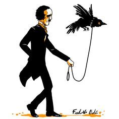 Fredrik Eden from Norway, a lover of horror movies and video games, shows us his version of Poe. Edgar Allen Poe, Edgar Allan Poe Works, Quoth The Raven, Pose, Gothic Horror, Horror Art, Animal Design, Macabre, Illustration
