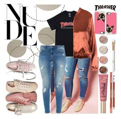 """""""THRASHER™ NUDES"""" by tropical-vegas-finest ❤ liked on Polyvore featuring Converse, Ted Baker, Casetify, Terre Mère, Too Faced Cosmetics and Lancôme"""