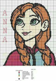 Anna Frozen perler bead pattern - 7 à la maison Frozen Cross Stitch, Cross Stitch For Kids, Cross Stitch Kits, Cross Stitch Charts, Cross Stitch Designs, Crochet Diy, Crochet Quilt, Crochet Cross, Crochet Chart