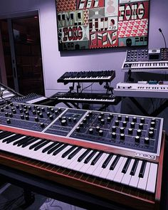 Some beautiful Moog synthesizers ready for tunes. Moog Synthesizer, Recording Equipment, Studio Gear, Music Instruments, Beautiful, Instagram, Musical Instruments