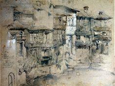 john ruskin- an italian village (pre-raphealite art/ Mid-victorian)