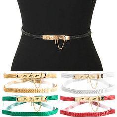 Women Fashion Gold Metal Pin Skinny Thin PU Leather Elastic STRETCH Waist BELT