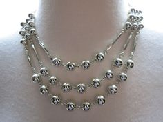 Vintage Coro 3 Strand Necklace Chain Silver Balls Textured Long Links Excellent #Coro #Chain